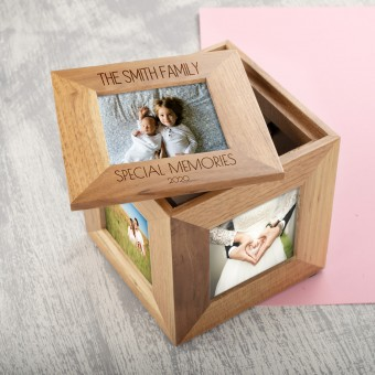 Personalised 5 Photo Frame Oak Wooden Cube Multi Picture Engraved Box