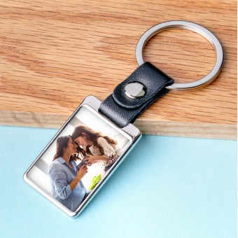 Personalised Photo Metal Keyring-Leather Rectangle