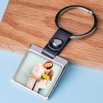 Personalised Photo Metal Keyring-Leather Square