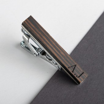 Personalised Wooden Tie Clip-Walnut